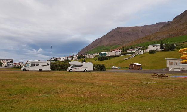 Tjaldsvæði Ólafsfjarðar að vetri til