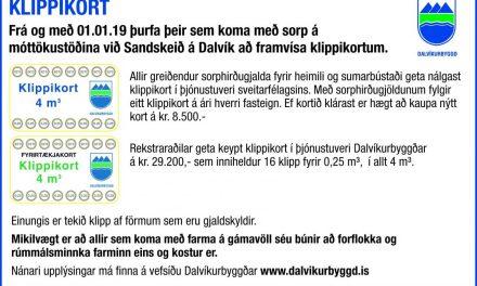 Notkun klippikorta hefst um áramót á Dalvík