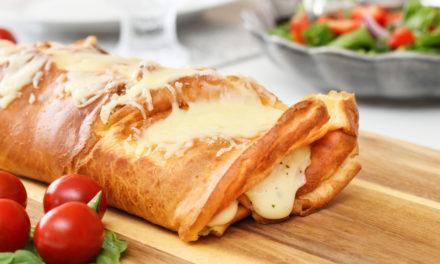 Pönnukökurúlla með skinku- og ostafyllingu