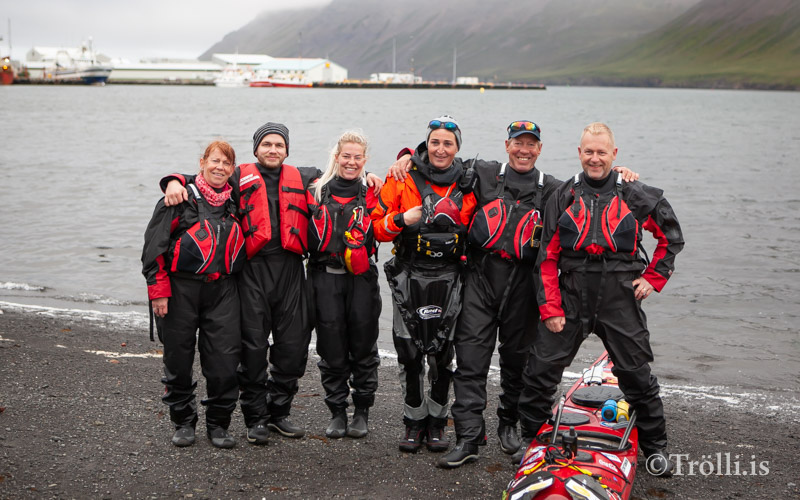 Veiga Grétarsdóttir kajakræðari kom til Siglufjarðar í gær