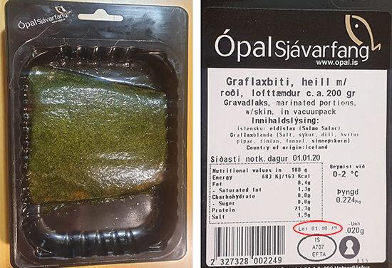 Listería í graflaxi frá Ópal sjávarfangi