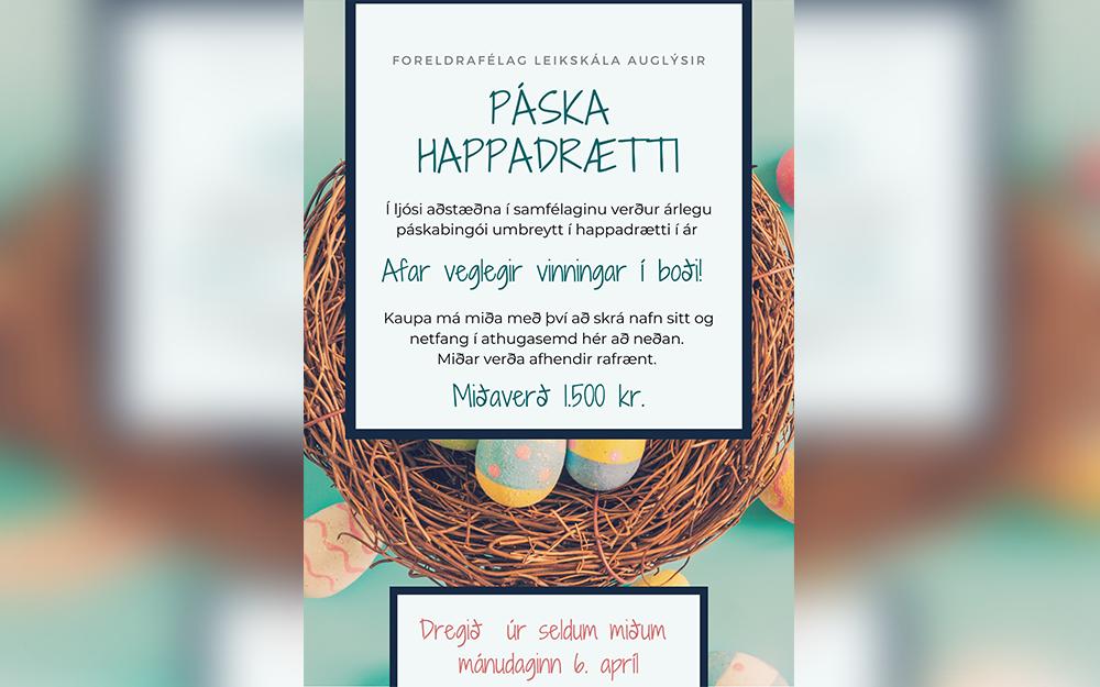 Vinningshafar í páskahappdrætti Foreldrafélags Leikskála 2020