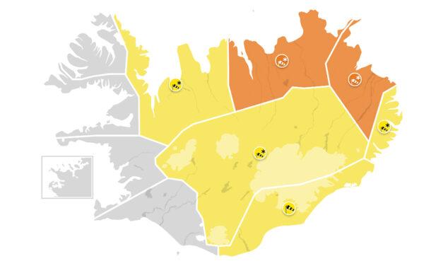 Appelsínugul viðvörun á Norðurlandi eystra
