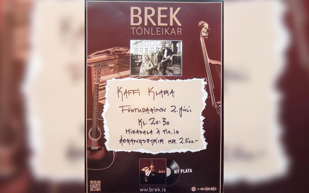 Hljómsveitin Brek með tónleika á Kaffi Klöru 2. júlí