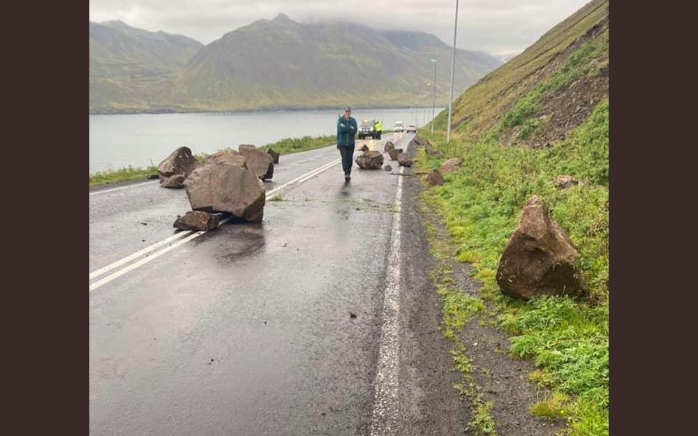 Grjóthrun á Siglufjarðarvegi
